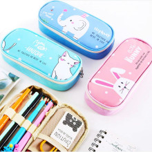 Cute Cat Pencil Case for Girls Boys Large Capacity Multifunctional Leather Big Bag Pen Box School Stationery