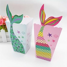 6pcs Mermaid Tail Party Popcorn Boxes Paperboard Candy Box Girls Mermaid Birthday Party Packaging Gift Box Baby Shower Supplies