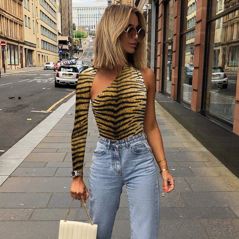 Sexy Women One Shoulder Long Sleeve Tiger Print Bodysuit Leotard Backless Tops Bodycon Female Jumpsuit Blouse Playsuit
