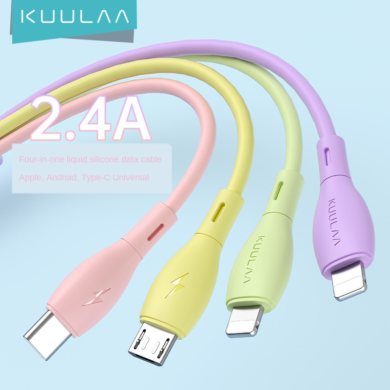 Cross border new one drag four data cable for Apple fast charging line mobile phone four in one type-C