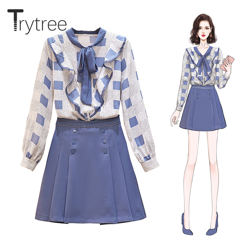Trytree Autumn Women Two Piece Set Casual V neck Bow Single Breasted Ruffle Tops + Skirt Button Zipper Mini Lady 2 Piece Set