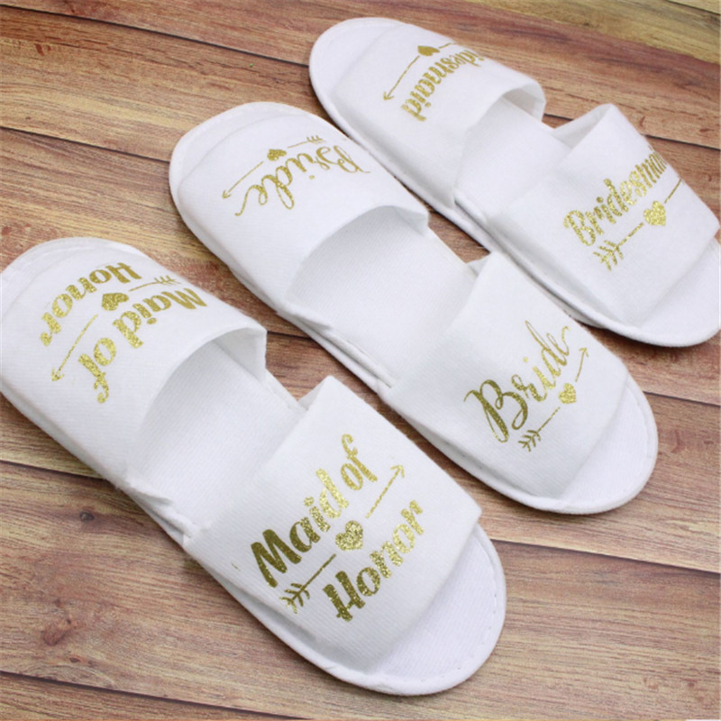 1 Pair Bride Shower Bride Wedding Decoration Bridesmaid Hen Party Spa Soft Slippers Ladies Bachelorette Party Supplies Gifts-C