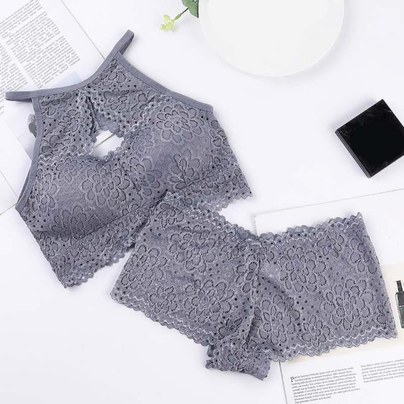 Women Wrapped Chest Tube Top Underwear Set Sexy Hollow Beauty Back Bra Set Lace Bottoming Vest
