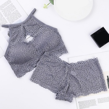 Women Wrapped Chest Tube Top Underwear Set Sexy Hollow Beauty Back Bra Set Lace Bottoming Vest lace underwear wrap around lace with coasters inside sexy bottoming cross anti glare beauty back strapless bra tube top