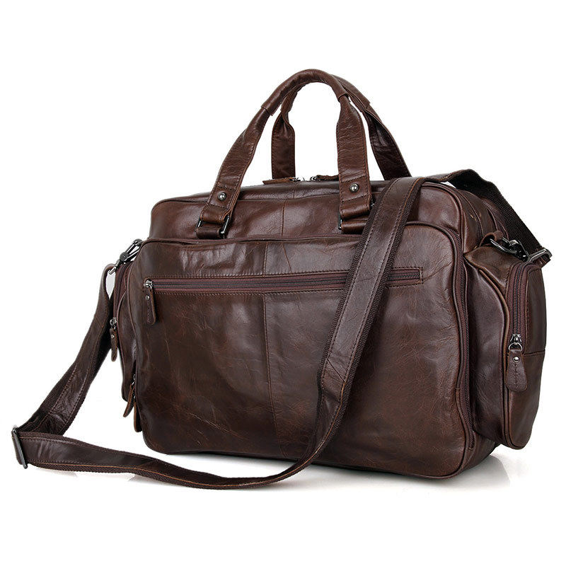Men's Business Briefcase Big Capacity Genuine Cow Leather 15