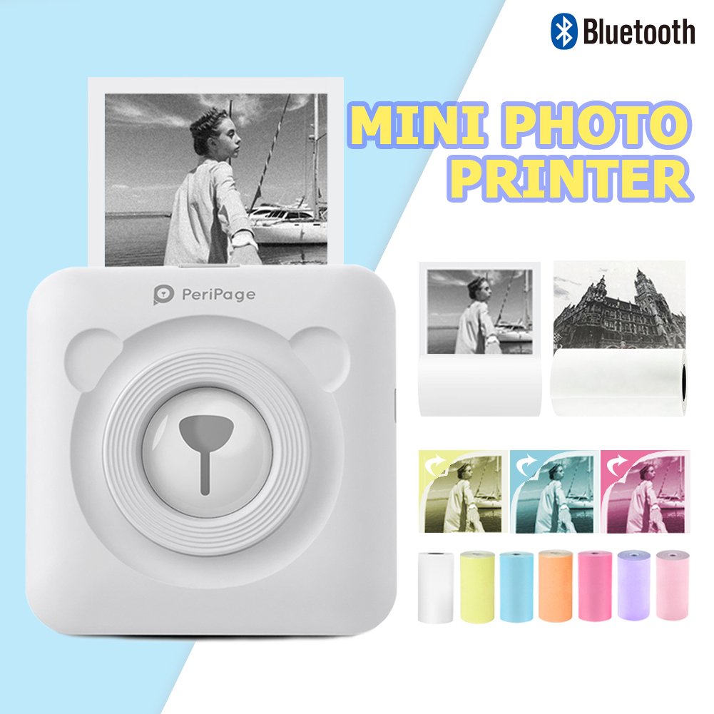 Portable Thermal Bluetooth Printer Mini Wireless Thermal Picture Photo Printer For Android IOS Mobile Phone Sticker Paper Kit