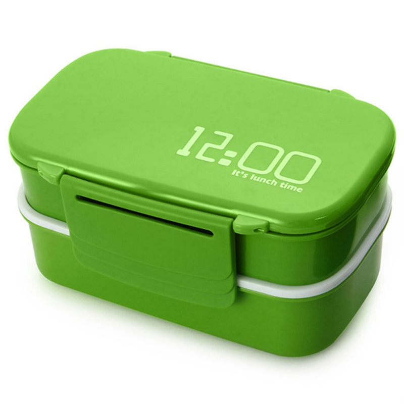 Large Capacity 1400Ml Double Layer Plastic Lunch Box Microwave Oven Bento Box Food Container Lunchbox BPA Free Green|Lunch Boxes| |  - title=
