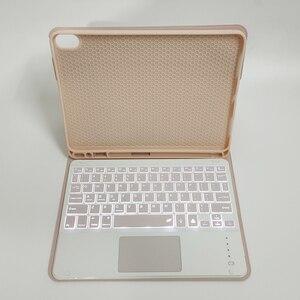 Image 2 - Klawiatura Bluetooth przypadku myszy dla iPad Air 4 10.9 8th Gen 2020 Trackpad podświetlenie rosyjski arabski hebrajski hiszpański Tablet klawiatura