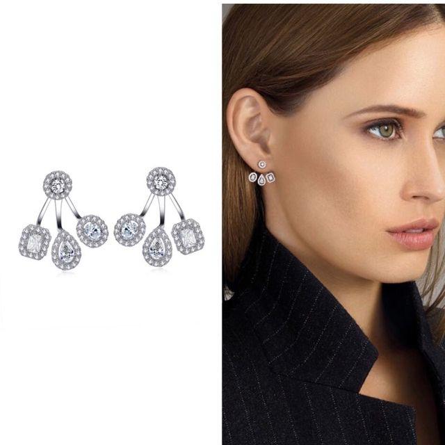 Top Nieuwe Delicate Luxe Gemoetric Zirconia Party Bruiloft Zilveren Jacket Oorbellen