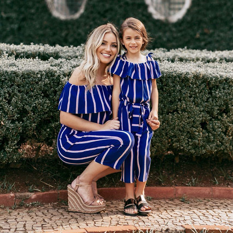 New Family Matching Sets Women Daughter Jumpsuit Ladies Off-Shoulder Blue Striped Belt Romper Trousers