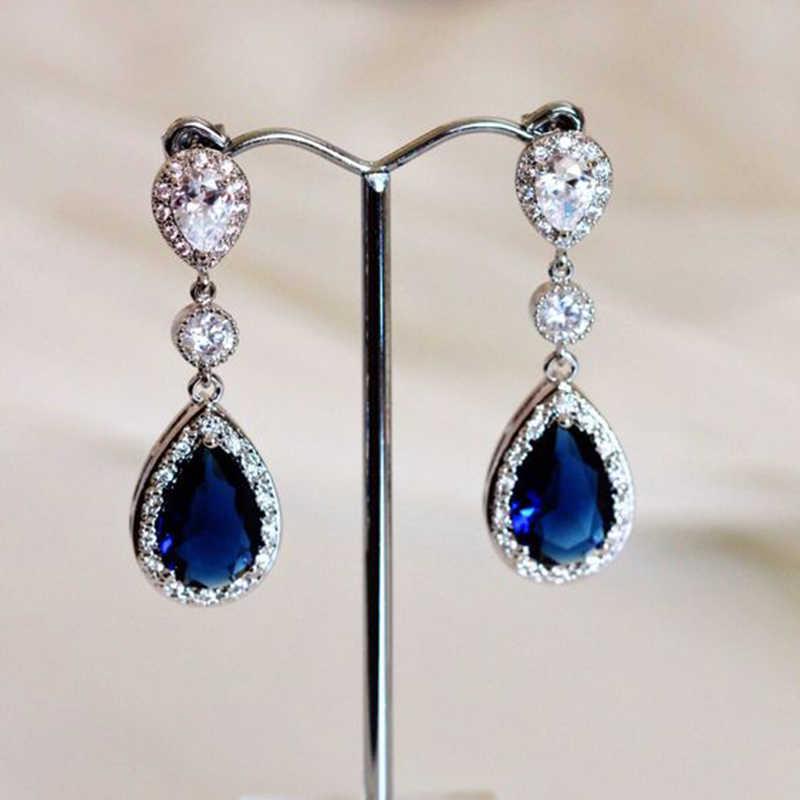 2019 Blue Crystal Rhinestone Earrings Silver Color Jewelry Fashion Female Bricons Wedding Big Drop Oorbellen For Women  V5Q240