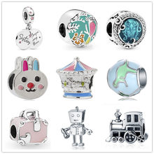new 1pc sister rabbit bunny Carousel dinosaur travel train charm DIY bead jewelry Fit Pandora Charms Bracelet for women EL196(China)