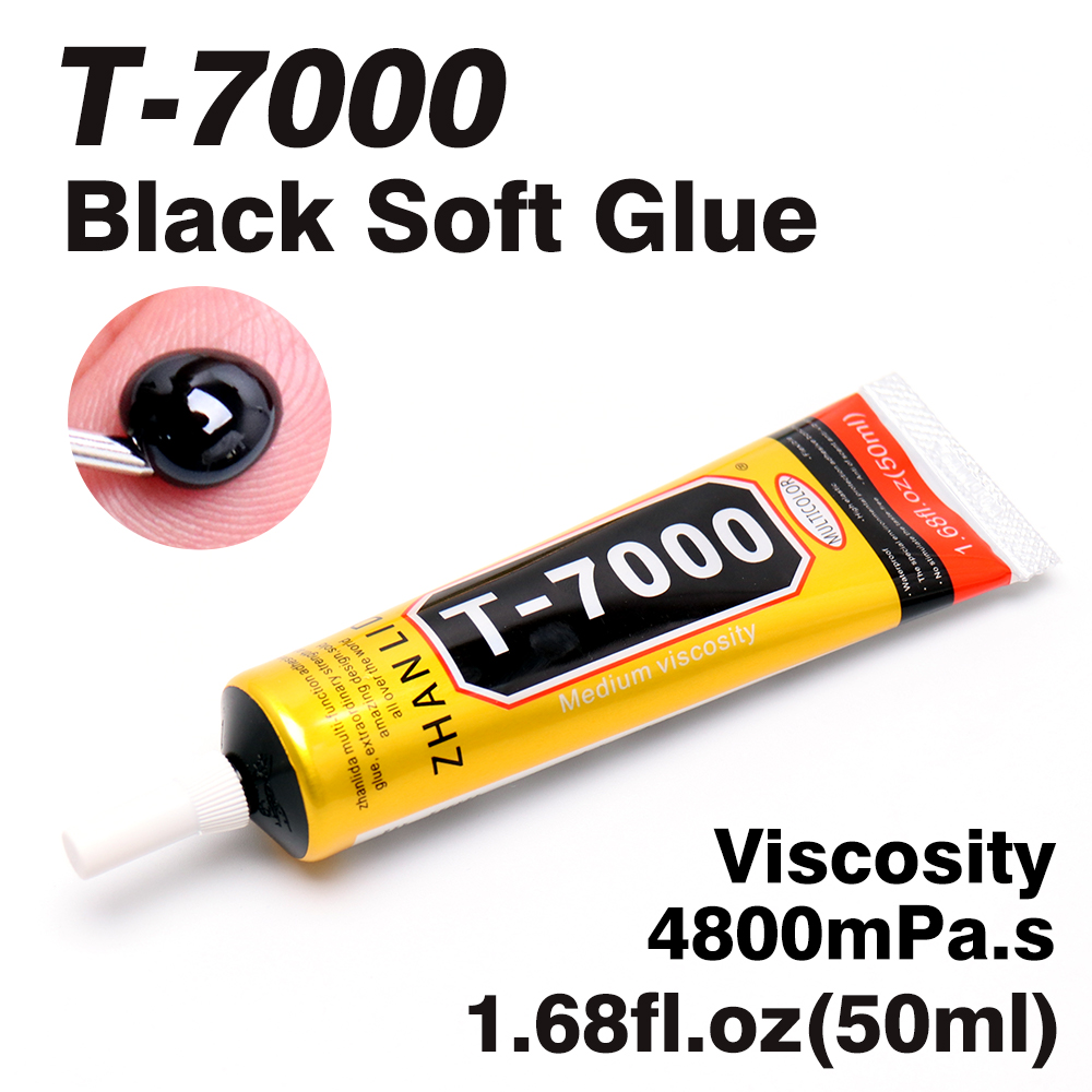 50ml T-7000 Multipurpose Black Waterproof Soft Glue Used In Metal Glass Stone Porcelain Wood Bamboo Leather Fabric Plastic Paper