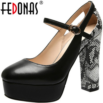 FEDONAS Concise Women 2020 High Heels Night Club Prom Pumps Rhinestone Glitters Shoes New Fashion Genuine Leather Shoes Woman