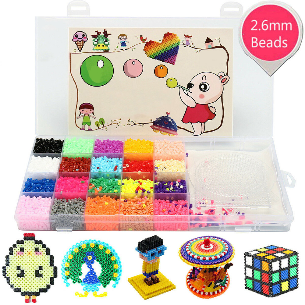 11000Pcs 2.6mm Hama Beads Set 20 Colors Gift Toys Jigsaw 3 Pegboards Educational Kids Boxed Making Pendant Fuse Perler Funny