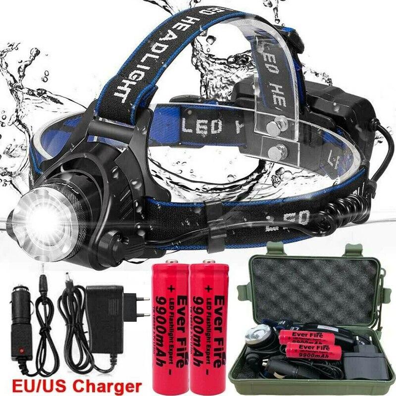 250000LM XML-T6 Led Del Faro Impermeabile Head Light LED 3 Modalità Torcia Elettrica di Zoomable Testa Della Lampada Ricaricabile per il Campeggio