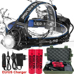 250000LM XML-T6 Led Headlamp Waterproof Head Light LED 3 Modes Flashlight Zoomable Rechargeable Head Lamp for Camping