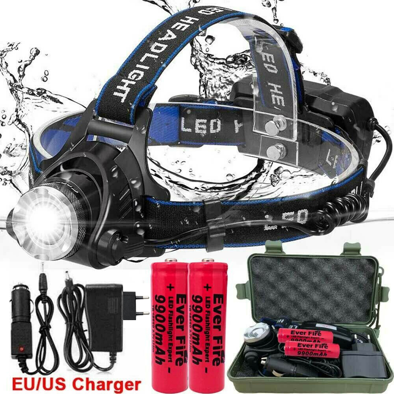 250000LM XML-T6 Led Koplamp Waterdichte Head Light Led 3 Modes Zaklamp Zoomable Oplaadbare Head Lamp Voor Camping