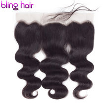 Bling Hair Lace Frontal Closure Brazilian Body Wave 13x4 Ear to Ear Frontal Remy Human Hair Closure With Baby Hair Free Part