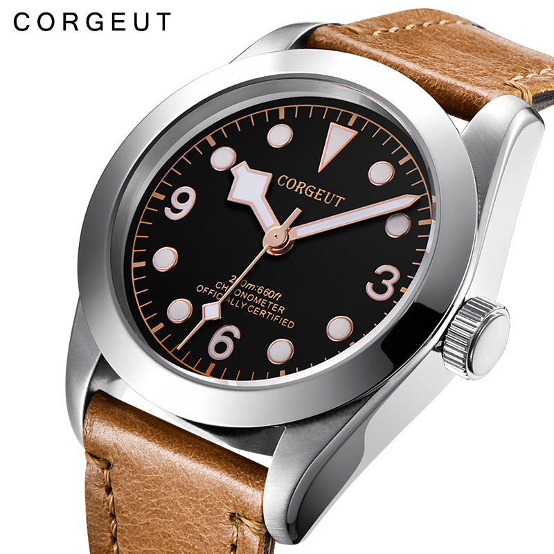 Corgeut Military Luminous Mechanical Watch Men <font><b>Automatic</b></font> Luxury Brand Sport Design Clock Leather Mechanical Wrist Watches image