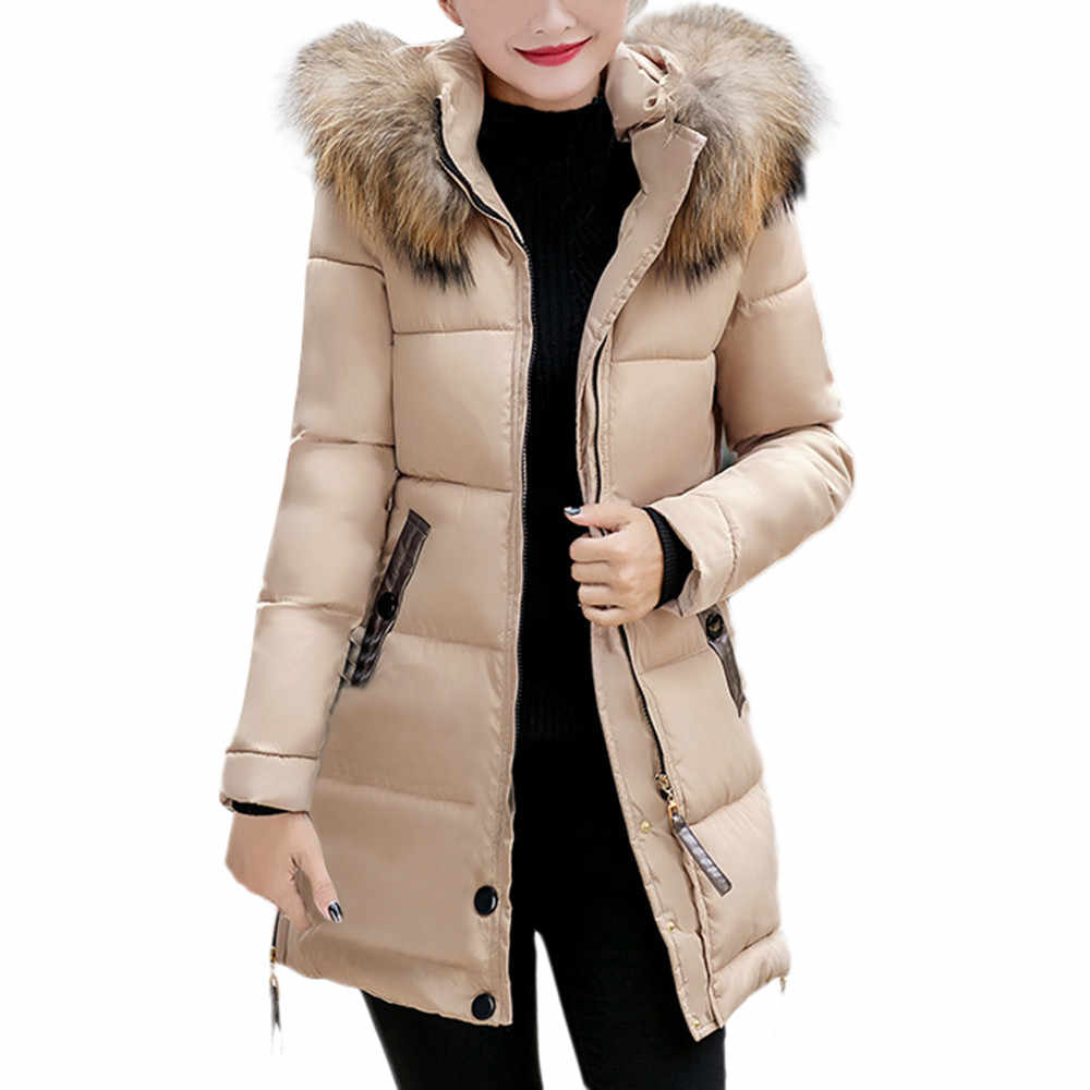 Womens winter jassen 2019 Parka voor vrouwen 4 Kleuren Gewatteerd Jassen warm Uitloper Met een Kap Grote Faux bontkraag