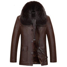 China Import Jassen Black & Brown Mannen Lederen Jas Vos Bontkraag Middelbare Leeftijd Heren Winter Warm Faux Leather Suede jas C538(China)