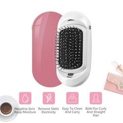 2.0 fashionic mini alisador de cabelo protable íon negativo pente anti-estático massagem alisamento pente cabelo elétrico iônico escova