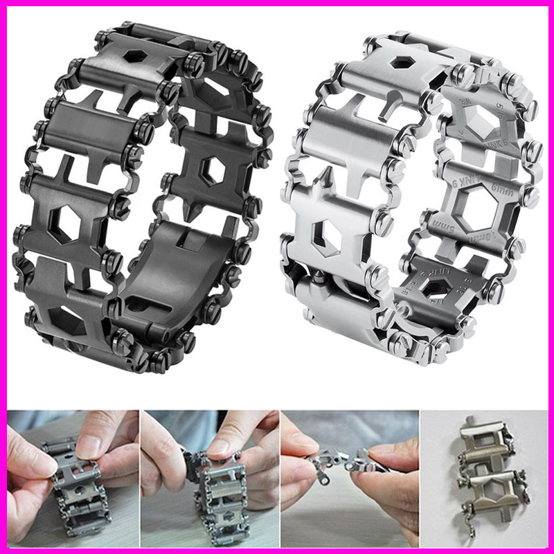 29 in 1 Multifunctional Tread Bracelet Stainless Steel Outdoor Bolt Driver Kits Travel Spliced Wearing Tool