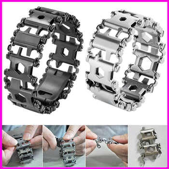 29 in 1 Multifunctional Tread Bracelet Stainless Steel Outdoor Bolt Driver Kits Travel Spliced Wearing Tool Hand Tools - DISCOUNT ITEM  32% OFF All Category