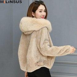 2019 зимнее пальто из овечьей шерсти, женская короткая куртка, теплая мягкая куртка на молнии из искусственного меха лисы с капюшоном, модная ...