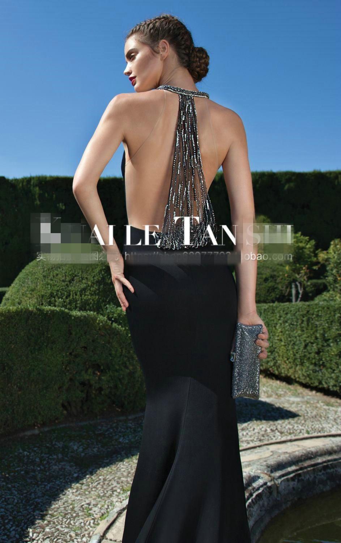 See Through Back Saree Robe De Soiree Courte Crystal Beaded Vestidos De Formatura Black Evening Long Mother Of The Bride Dresses
