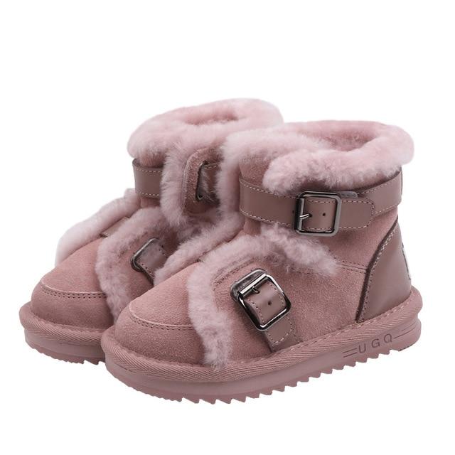 Inverno couro genuíno quente meninos & meninas sapatos crianças nova fivela de couro bota quente pelúcia ao ar livre crianças neve bota criança che06