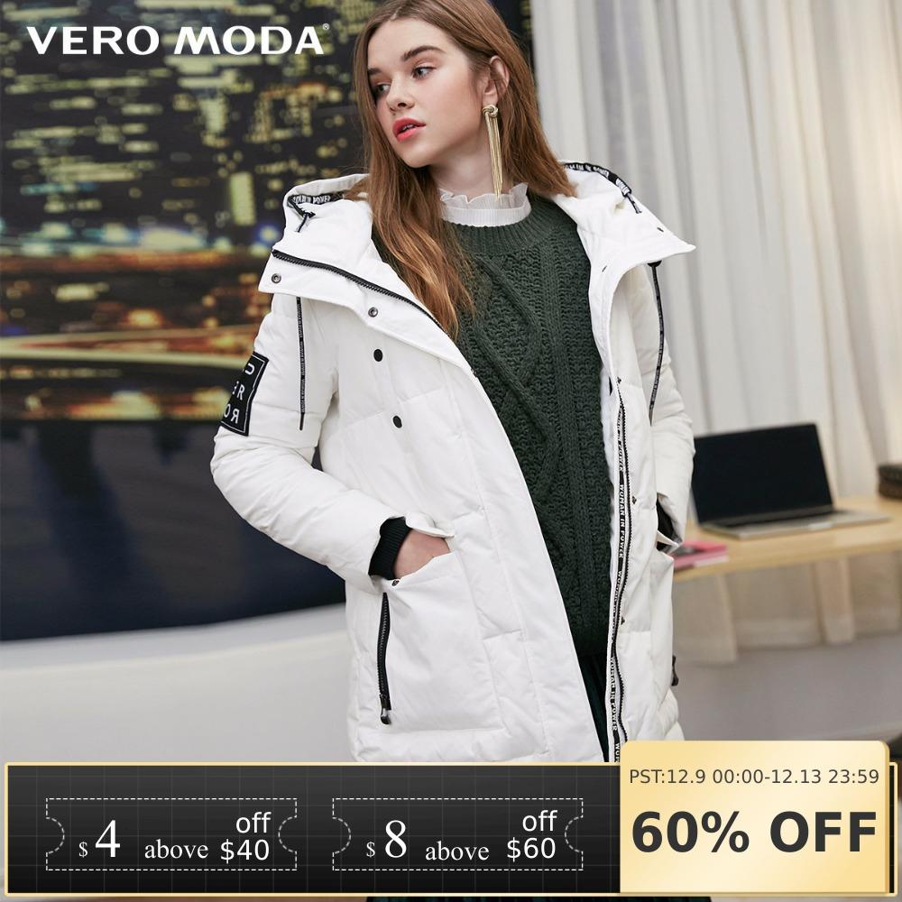 Vero Moda New Hooded Letters Back Velcro Long Down Jacket | 318312505