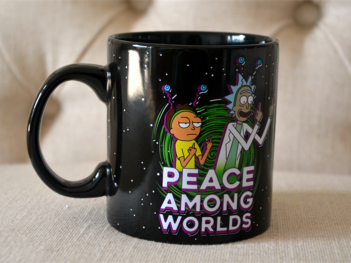 New Rick and Morty peace among worlds Black Ceramic Coffee Tea Cup Mug image