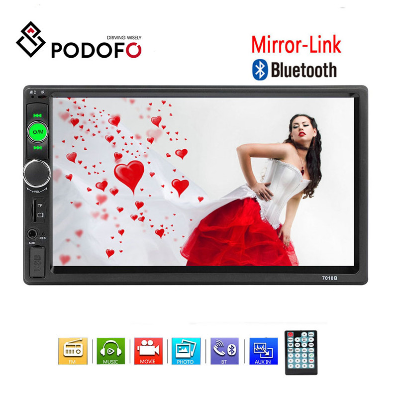 Podofo 2 din Car radio Bluetooth Mirror link Autoradio 7 HD MP5 Multimedia Player 2din FM/Aux/USB/SD Receiver Auto Car Stereo image