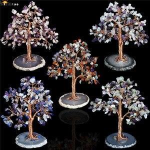 Sunligoo 1x queda pedra dinheiro árvore feng shui ornamentos de cristal pedra preciosa árvore da vida estatuetas & ágata fatia suporte decoração da sua casa