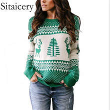 Sitaicery Christmas Sweater Autumn Winter Long Sleeve Pullover Knitted Woman New 2019 Ladies Sweaters For Day