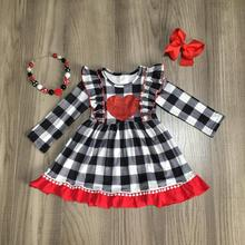 Valentines day baby girls children clothes cotton plaid ruffles love heart shape dress boutique match accessories knee length