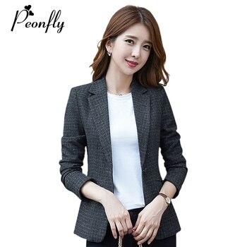 PEONFLY Vintage Single Button Plaid Women Blazer Pockets Jackets Female Retro Coat Slim Blazer Feminino Outerwear Plus Size 1