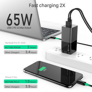 65W GaN USB-C адаптер питания, 1 порт PD65W PPS 45W для ноутбуков Type-C MacBook iPad iPhone Samsung,1 порт QC3.0/SCP для HUAWEI XIAOMI