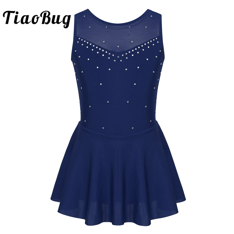 TiaoBug Kids Girls Dancewear Sleeveless Sparkly Rhinestones Tulle Figure Skating Dress Gymnastics Leotards Ballet Dance Costume