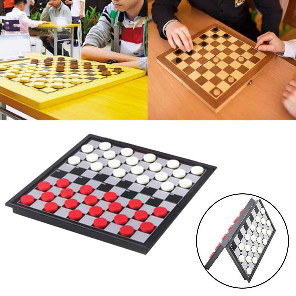 Adults Portable Party Gift Board Game Entertainment International Chess Set Checkers Magnetic Folding Indoor Outdoor Durable