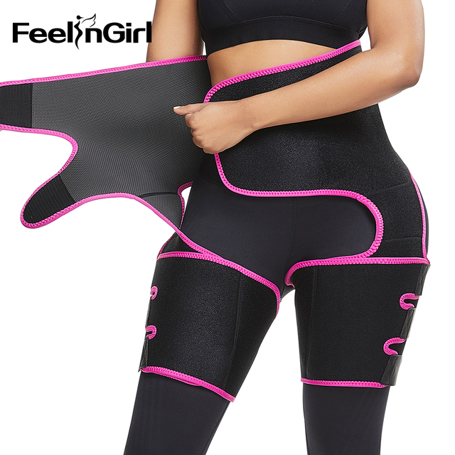 FeelinGirl Neoprene Slim Thigh Trimmer Leg Shapers Slimming Belt Waist Trainer Sweat Shapewear Fat Burning Compress Belt 2