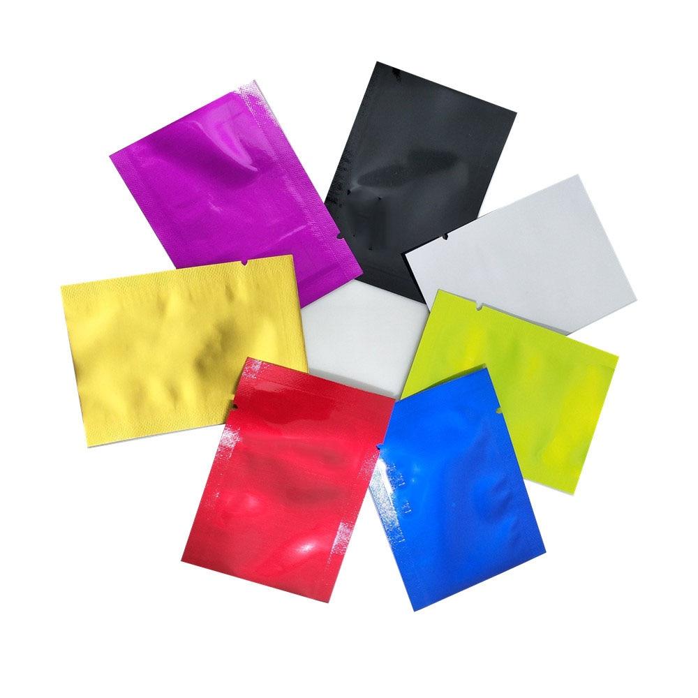 En gros haut ouvert thermoscellage sacs sous vide pur Mylar feuille emballage sacs alimentaire stockage poche faveur de mariage 2000 pièces 5x7cm 7 couleurs