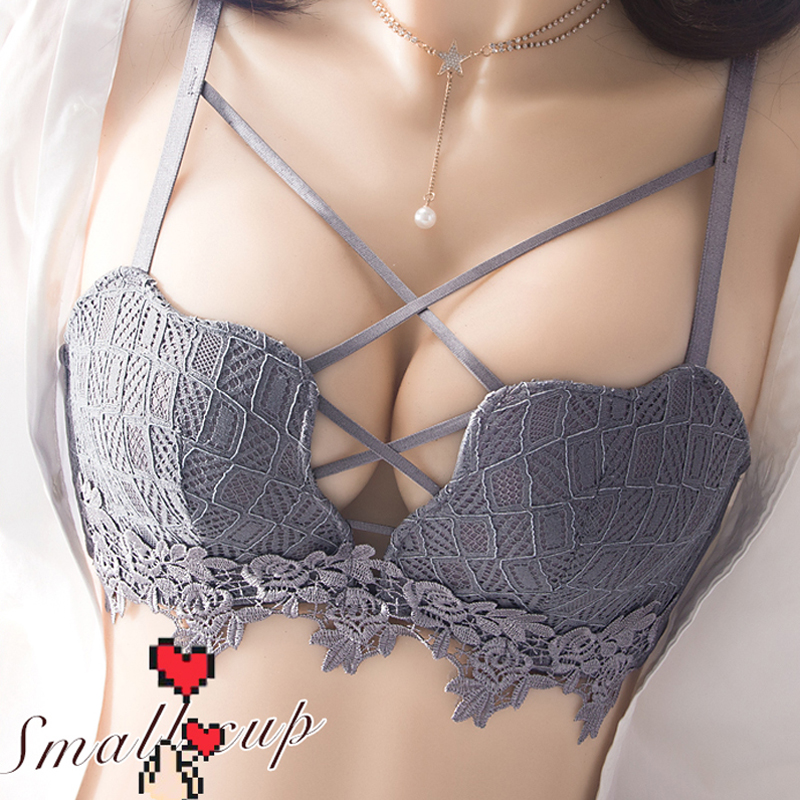 Wire Free Push Up Underwear Women Suit Bra Gathered Small Chest Sexy Lace Bras Section Received