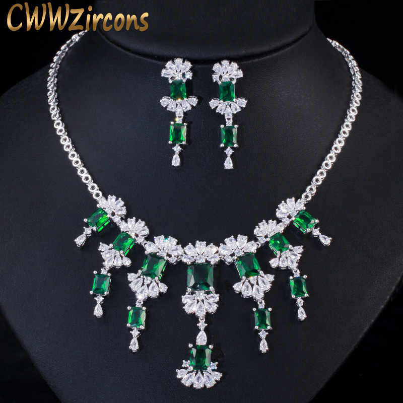 CWWZircons Vintage Green Cubic Zirconia Stone Big Dangle Drop Bridal Earring Necklace Costume Jewelry Set for Wedding Women T358