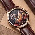 Автоматические часы MIYOTA с 3D циферблатом  Механические Мужские наручные часы  мужские часы из натуральной кожи  мужские часы
