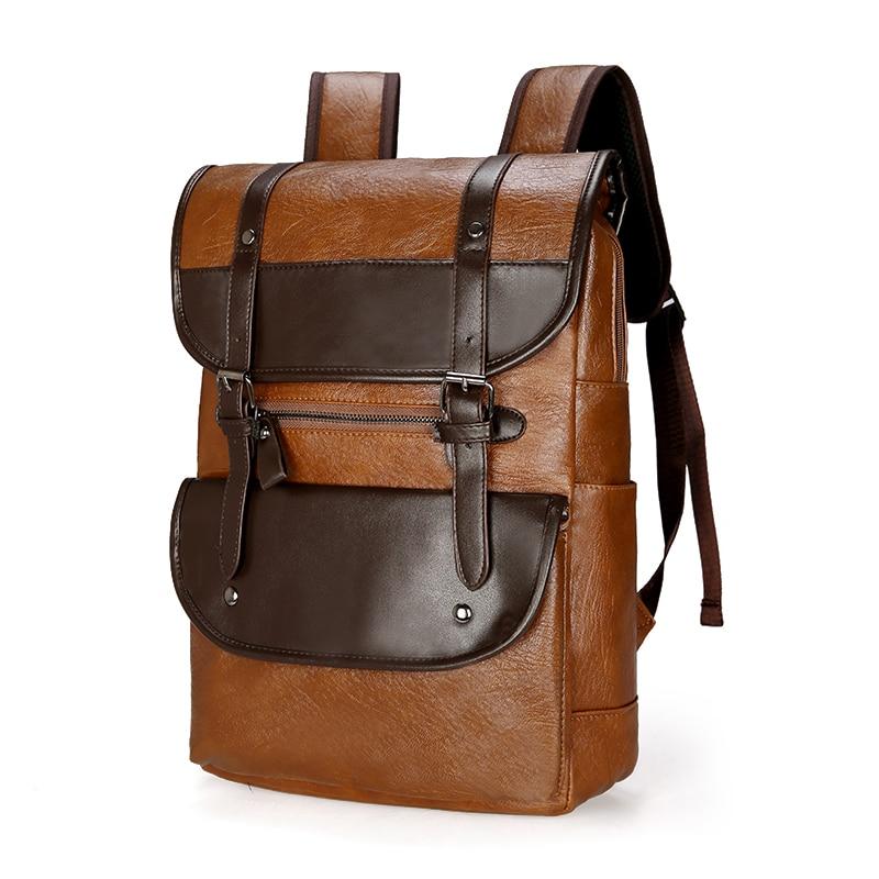Image 3 - DIDA BEAR  Men Backpack Leather Bagpack Large laptop Backpacks Male Mochilas Retro Schoolbag For Teenagers Boys Travel BagBackpacks   -