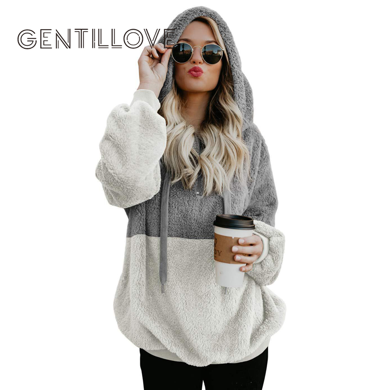 Gentillove Harajuku Casual Color Block Hoodies Sweatshirt Women Long Sleeve Zip Fleece Cozy Pullover Tops Outwear Coat 2019 New