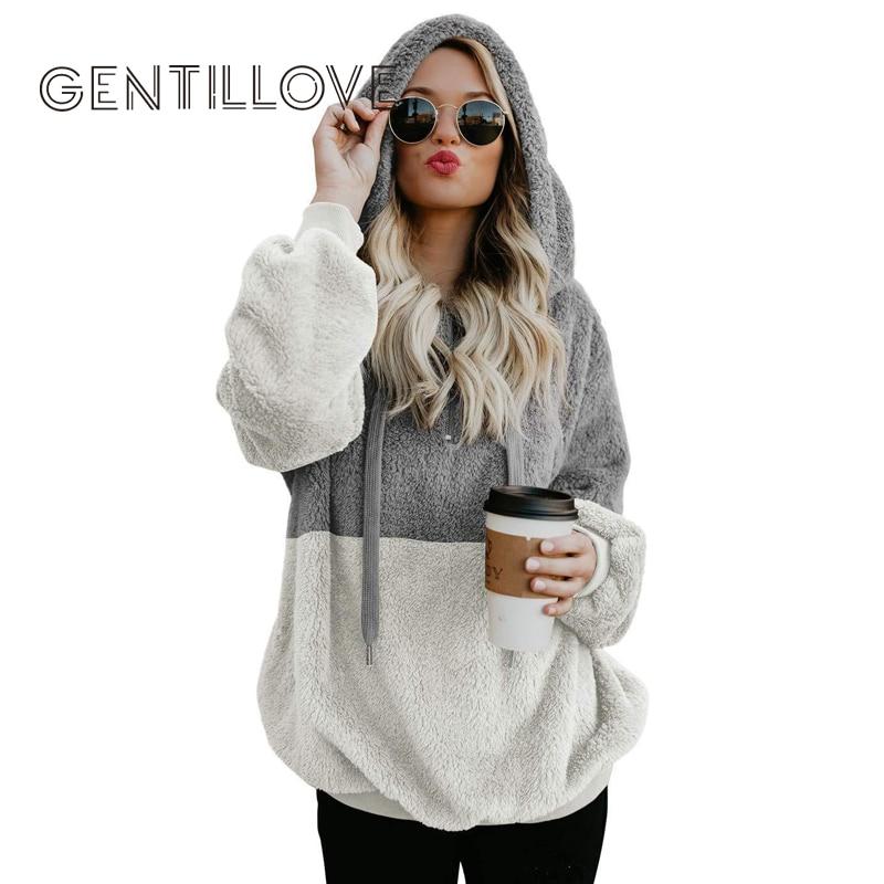 Gentillove Harajuku Casual Color Block Hoodies Sweatshirt Women Long Sleeve Zip Fleece Cozy Pullover Tops Outwear Coat 2019 New